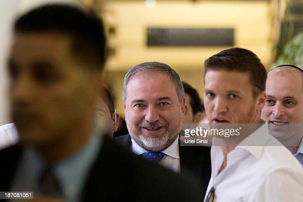 Former Israeli Foreign Minister Avigdor Lieberman as he exits the courtroom after hearing the verdict in his trial in which is he is facing charges...