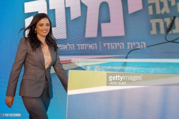 Former Israeli Justice Minister Ayelet Shaked attends the launch of the political party Yemina on August 12 2019 in the Israeli city of Ramat Gan...