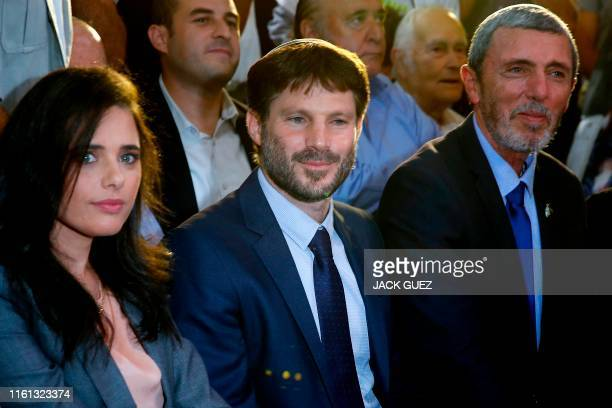 Former Israeli Justice Minister Ayelet Shaked attends the launch of the political party Yemina which she formed with Transportation Minister Bezalel...