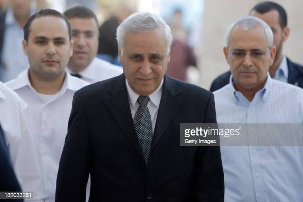 Former Israeli President Moshe Katsav , arrives at Israel's Supreme Court to hear the verdict of his appeal on rape and other sexual offences on on...