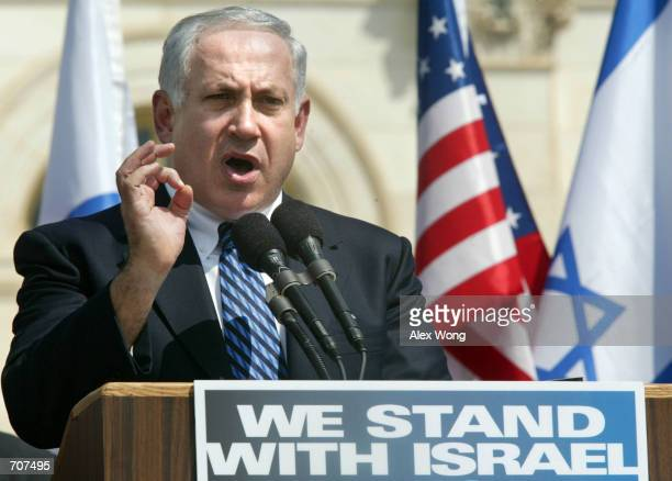 Former Israeli Prime Minister Benjamin Netanyahu speaks during a pro-Israel rally on Capitol Hill April 15, 2002 in Washington, DC. Netanyahu said...