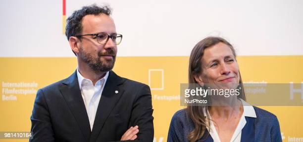 Former Italian director of Locarno Film Festival Carlo Chatrian and Dutch Mariette Rissenbeek are pictured during a press conference in Berlin...