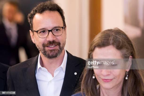 Former Italian director of Locarno Film Festival Carlo Chatrian and Dutch Mariette Rissenbeek arrive to a press conference in Berlin Germany on June...