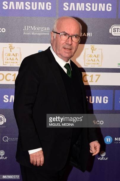 Former Italian Football Federation President Carlo Tavecchio arrives at the 'Gran Gala del Calcio' Italian Football Association awards ceremony on...