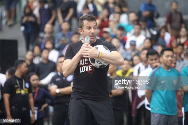 Former Italian football player Alessandro Del Piero gives a coaching clinic to young football players in Medan North Sumatra Indonesia on May 17 2018...