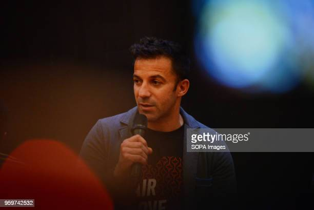 Former Italian football player Alessandro Del Piero gives a speech to young football players in Medan Del Piero visited Medan to promote football and...
