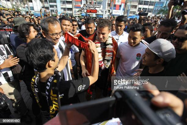 Former Italian football player Alessandro Del Piero meet the fans before gives a coaching clinic to young football players in Medan North Sumatra...