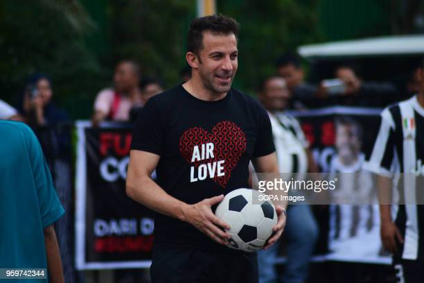 Former Italian football player Alessandro Del Piero seen playing with young football players in Medan Del Piero visited Medan to promote football and...