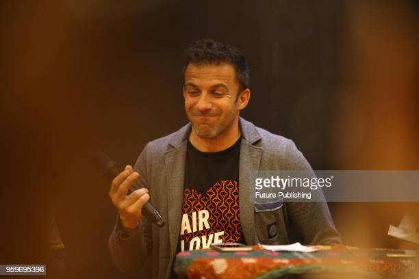Former Italian football player Alessandro Del Piero speak to journalist during press conference in Medan North Sumatra Indonesia on May 17 2018 Del...