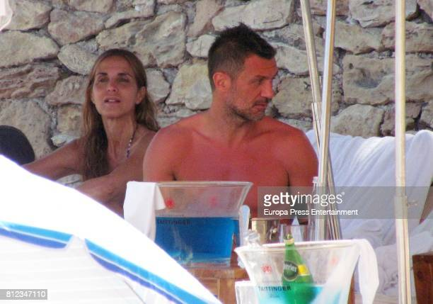 Former Italian footballer Paolo Maldini and his wife Adriana Fossa are seen on July 10 2017 in Ibiza Spain