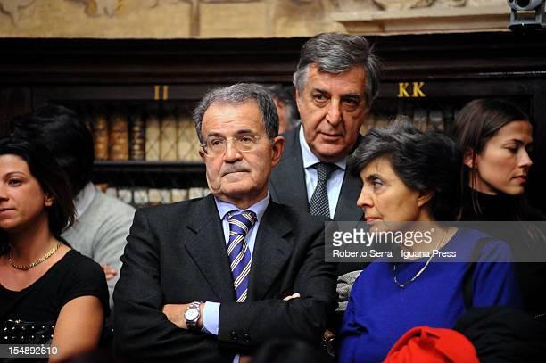 Former Italian Government Prime Minister Romano Prodi and his wife Flavia Franzoni attends the presentation of Giovanna Zucconi's latest book Ideas...