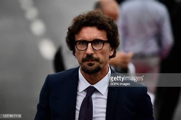 Former Italian Minister of Infrastructure and Transport Danilo Toninelli looks on before the official inauguration ceremony of the new San Giorgio...