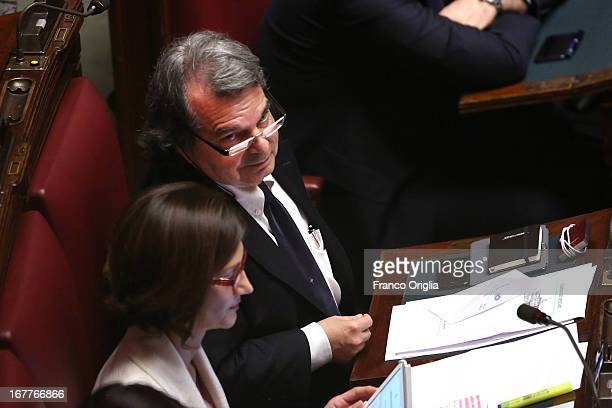 Former Italian ministers Mariastella Gelmini and Renato Brunetta attend the confidence vote at the Chamber of Deputies on April 29, 2013 in Rome,...