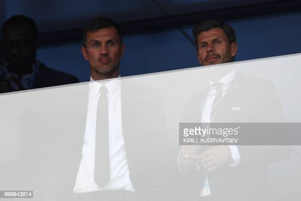 Former Italian player Paolo Maldini attends the Russia 2018 World Cup final football match between France and Croatia at the Luzhniki Stadium in...