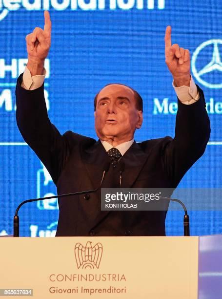 Former Italian Premier and Forza Italia Leader Silvio Berlusconi arrives for a meeting Confindustria in Capri.