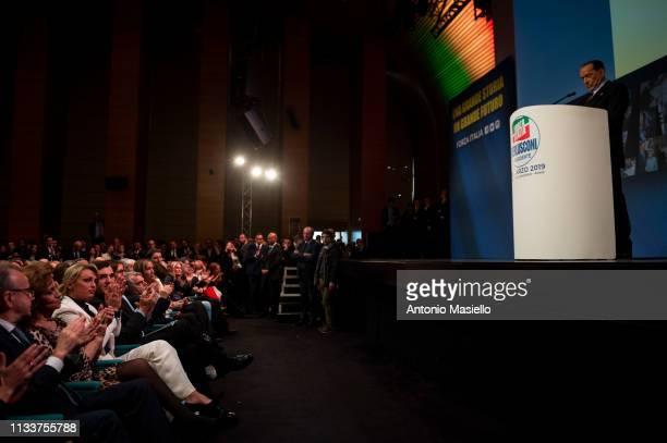 Former Italian Prime Minister and Forza Italia leader Silvio Berlusconi and Francesca Pascale, companion of Silvio Berlusconi attend a meeting of...