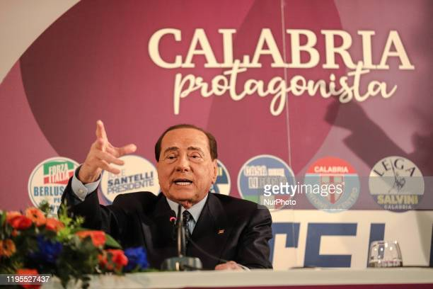 Former Italian Prime Minister and Forza Italia party leader Silvio Berlusconi delivery a speechs during a conference to support Jole Santelli on...