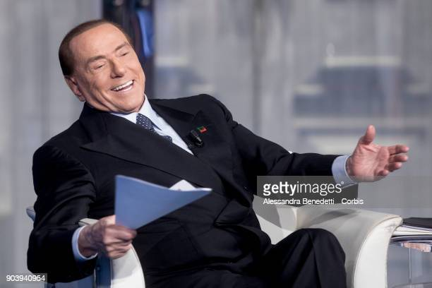 Former Italian Prime Minister and leader of Forza Italia Party Silvio Berlusconi attends the debate show Porta a Porta at RAIÕs Broadcasting studios...