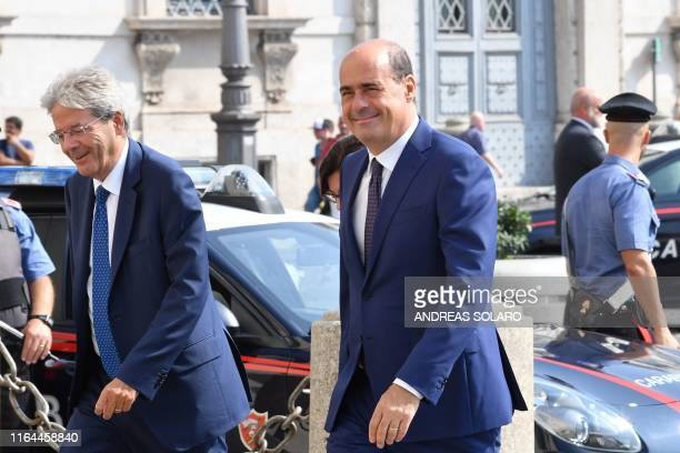Former Italian Prime Minister Paolo Gentiloni and Italian leftwing party leader of the Democratic Party Nicola Zingaretti arrive for a meeting with...