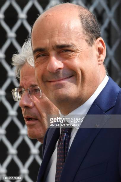 Former Italian Prime Minister Paolo Gentiloni and Italian left-wing party leader of the Democratic Party Nicola Zingaretti arrive for a meeting with...