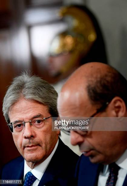 Former Italian Prime Minister Paolo Gentiloni looks on as Italian left-wing party leader of the Democratic Party , Nicola Zingaretti addresses the...