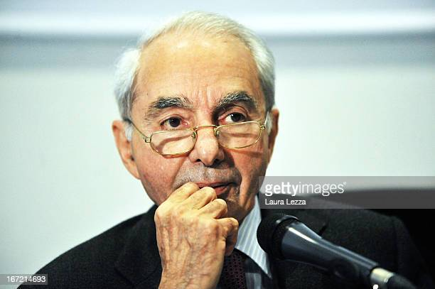 Former Italian Prime Minister Professor Giuliano Amato who is one of the two favorites to lead the new Italian Government attends a European Studies...