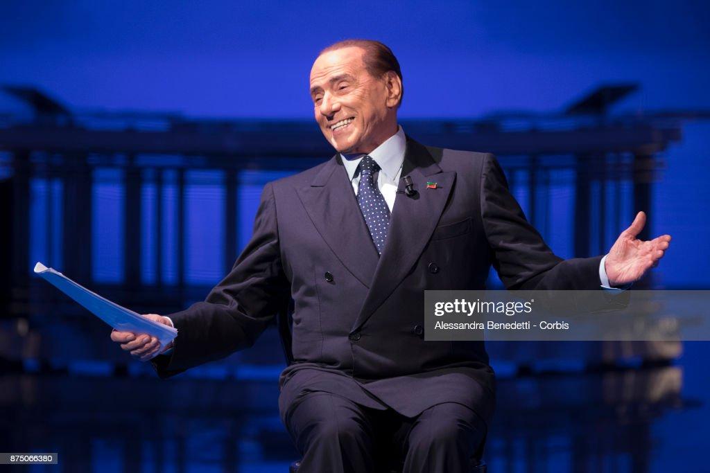 Former Italian Prime Minister Silvio Berlusconi Attends Political Show 'Porta a Porta'