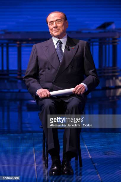 Former Italian Prime Minister Silvio Berlusconi attends the political show 'Porta a Porta' at RAIÕs broadcast studios on November 16 2017 in Rome...