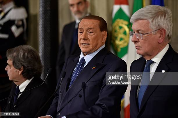 Former Italian Prime Minister Silvio Berlusconi delivers a speech during a press conference after his meeting with President of Italy Sergio...