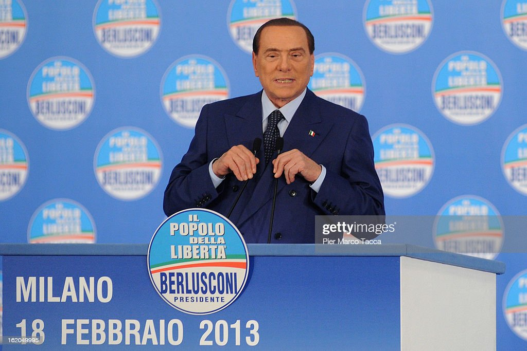Former Italian Prime Minister Silvio Berlusconi delivers his speech during a political rally on February 18, 2013 in Milan, Italy. Berlusconi is entering the last week of campaigning for his party Popolo della Liberta. Italians go to the polls February 24-25.