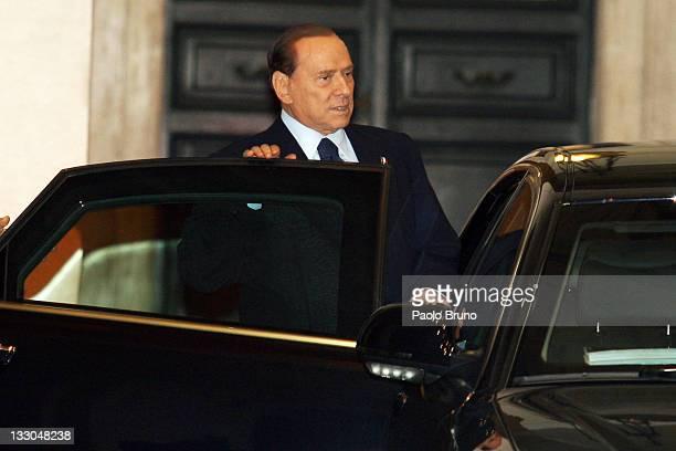 Former Italian Prime Minister Silvio Berlusconi departs Palazzo Chigi on November 16 2011 in Rome Italy Following the resignation of Italian Prime...