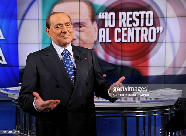 Former Italian Prime Minister Silvio Berlusconi Gives Rare TV Interview on May 25 2016 in Rome Italy