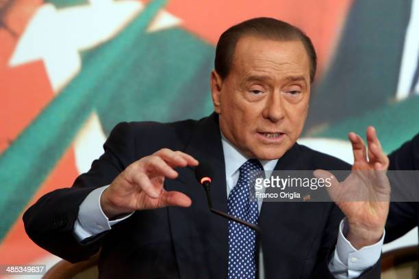 Former Italian Prime Minister Silvio Berlusconi holds a press conference to open the European electoral campaign of his party Forza Italia at the...