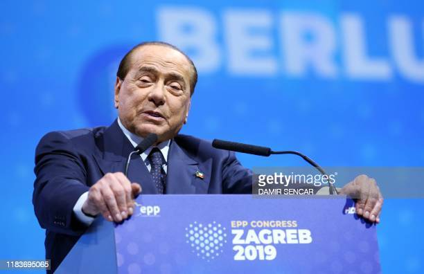 Former Italian Prime Minister Silvio Berlusconi speaks during the second day of European People's Party Summit in Zagreb, on November 21, 2019.
