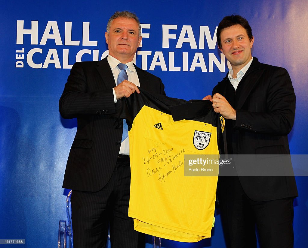 Former Italian referee Stefano Braschi and Florence Mayor Dario Nardella pose during the Italian Football Federation Hall of Fame Award ceremony at Palazzo Vecchio on January 19, 2015 in Florence, Italy.