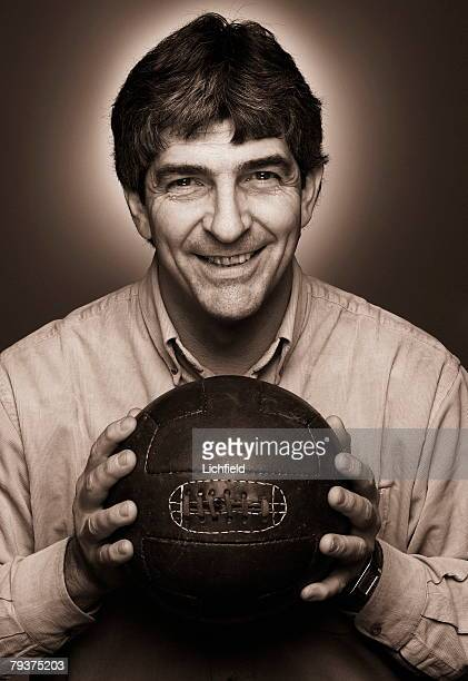 Former Italian striker and World Cup winner Paolo Rossi holding an old fashioned leather football 5th December 2003 He also played for Vicenza...