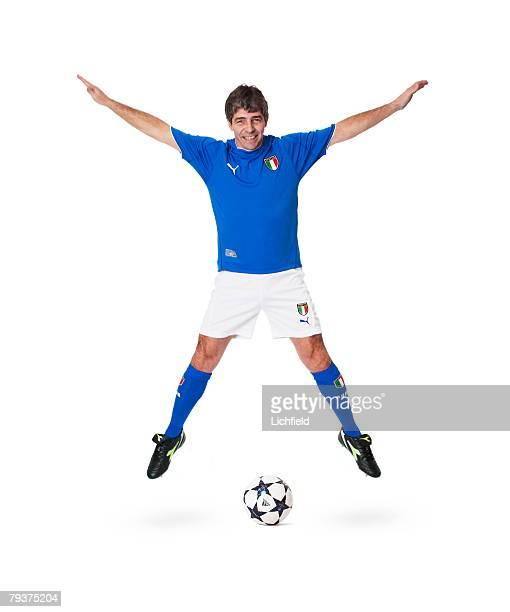Former Italian striker and World Cup winner Paolo Rossi, wearing the strip of his national team, 5th December 2003. He also played for Vicenza,...