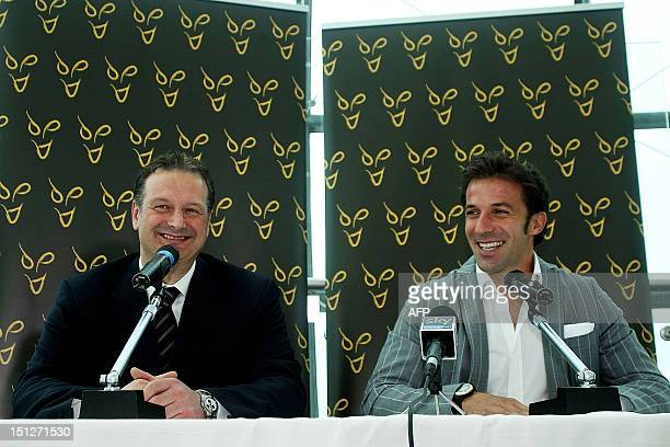 Former Italy and Juventus forward Alessandro Del Piero smiles next to Tony Pignata CEO of Sydney FC during a news conference at the Lingotto Palace...