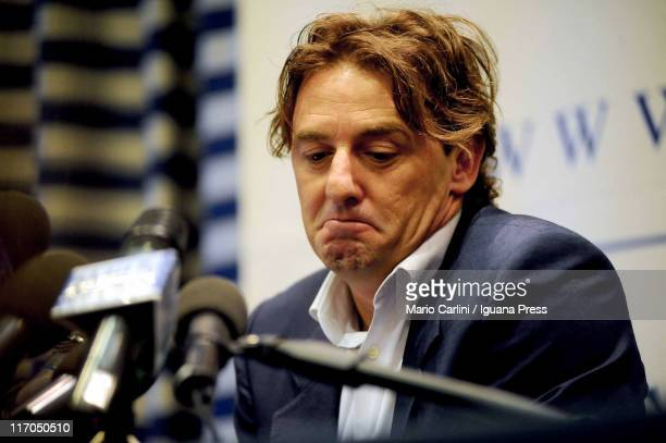 """Former Italy and Lazio striker Giuseppe """"Beppe"""" Signori attends a press conference with his attorneys, at Savoia Hotel on June 20, 2011 in Bologna,..."""