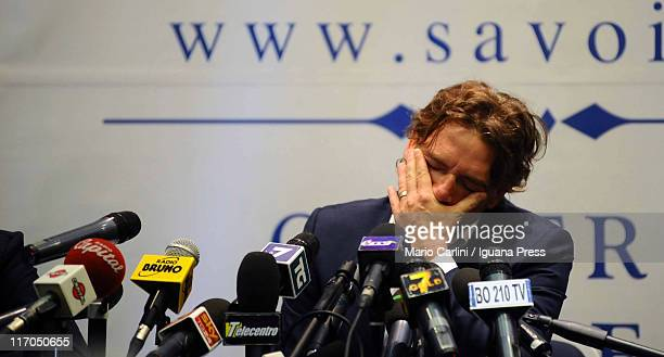 Former Italy and Lazio striker Giuseppe 'Beppe' Signori attends a press conference with his attorneys at Savoia Hotel on June 20 2011 in Bologna...