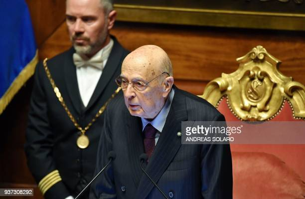 Former Italy's President Giorgio Napolitano announces the name of the new Senate President during the second session at the Chamber of Deputies in...