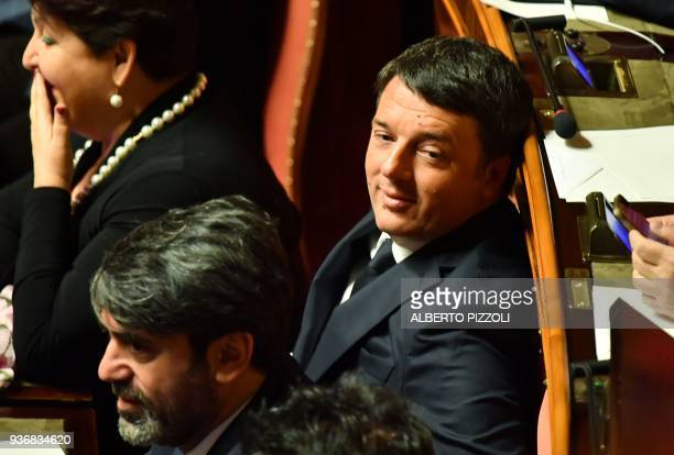 Former Italy's Prime Minister and Democratic Party secretary Matteo Renzi sits in his place at the Senate during the first session in Rome on March...