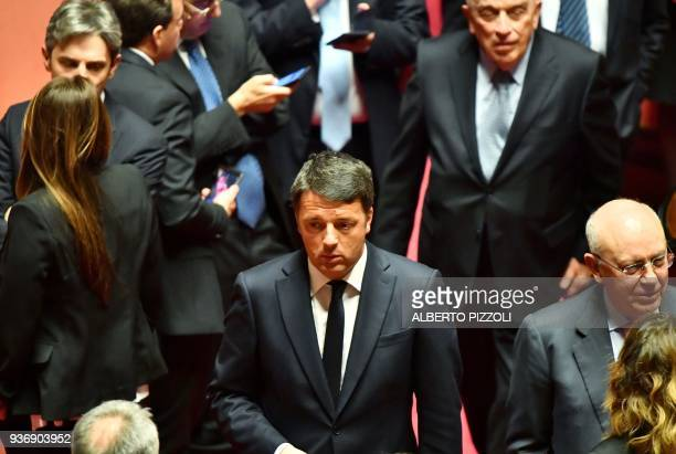 Former Italy's Prime Minister and Democratic Party secretary Matteo Renzi arrives at the Italian Senate during the first session in Rome on March 23...