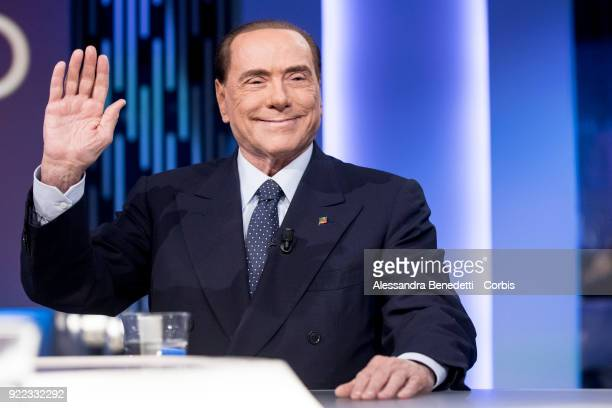 Former Italy's Prime Minister and leader of Forza Italia Party Silvio Berlusconi attends the TV debate show 8 1/2 at LA7 broadcast studios on...