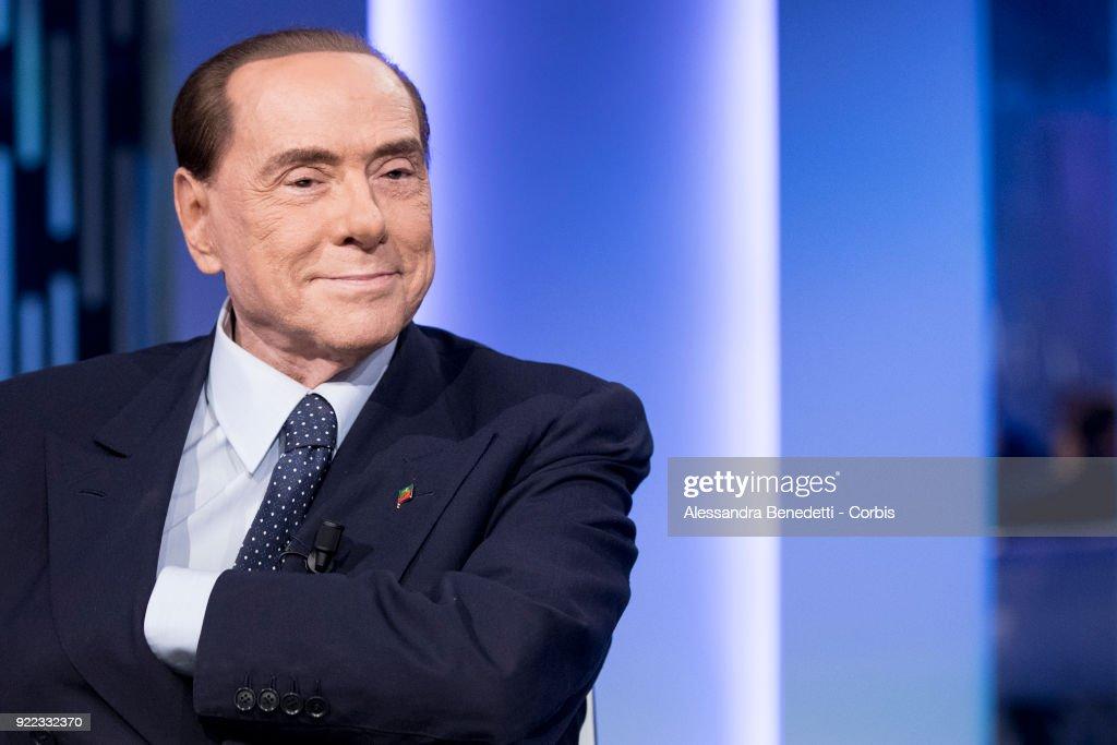 Silvio Berlusconi Appears On Italian TV Show 8 1/2 : News Photo