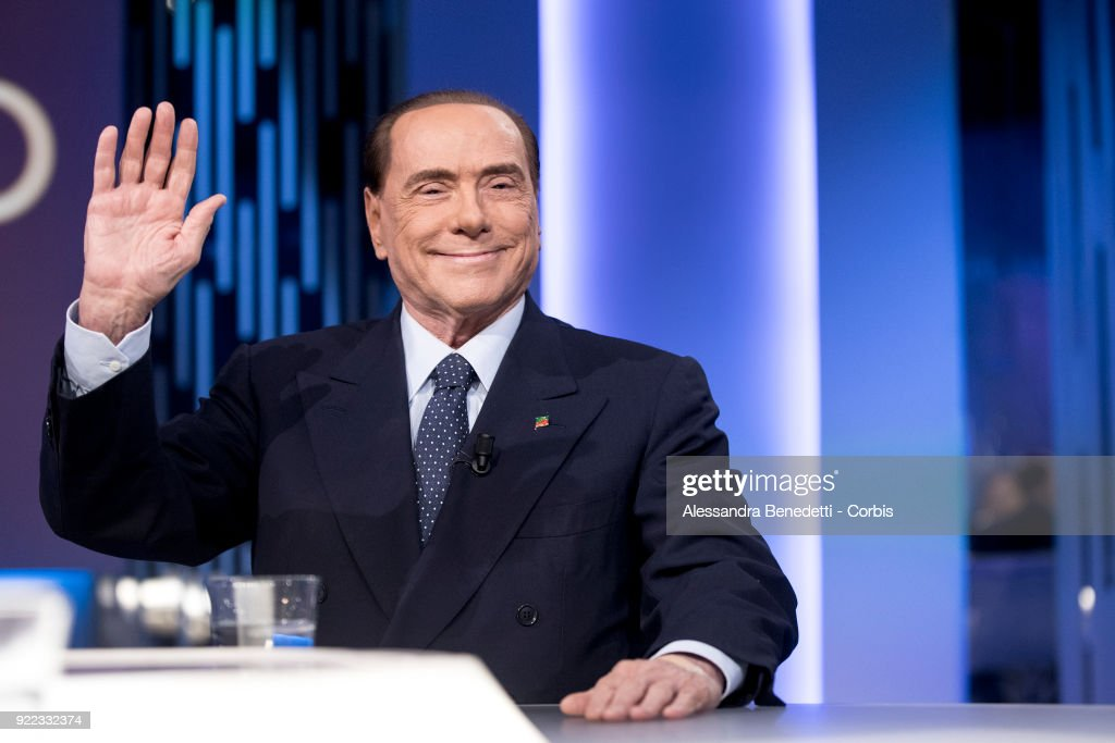 Former Italy's Prime Minister and leader of Forza Italia Party Silvio Berlusconi attends the TV debate show 8 1/2 at LA7 broadcast studios on February 21, 2018 in Rome, Italy. Italy is set to hold a general election to form a new parliament and government on March 4, 2018.