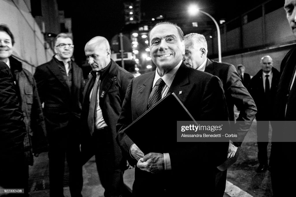 Former Italy's Prime Minister and leader of Forza Italia Party Silvio Berlusconi arrives at La7 broadcast studios to attend the TV debate show 8 1/2 on February 21, 2018 in Rome, Italy. Italy is set to hold a general election to form a new parliament and government on March 4, 2018.