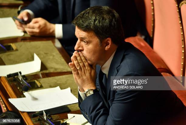 Former Italy's Prime Minister Matteo Renzi is pictured during a confidence debate at the Senate in Rome on June 5, 2018. - Italy's populist coalition...