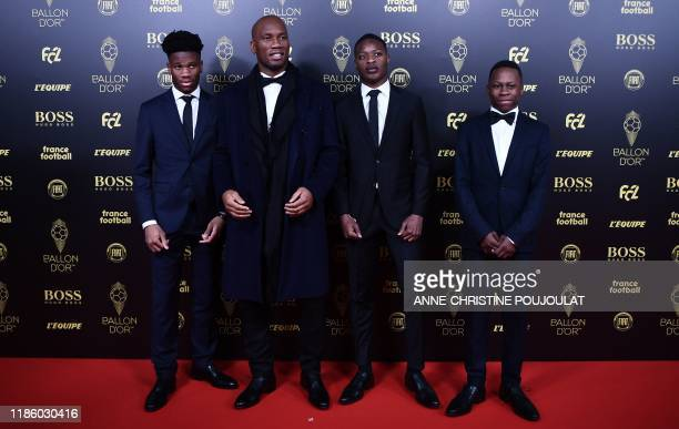 Former Ivorian forward Didier Drogba arrives to attend the Ballon d'Or France Football 2019 ceremony at the Chatelet Theatre in Paris on December 2...
