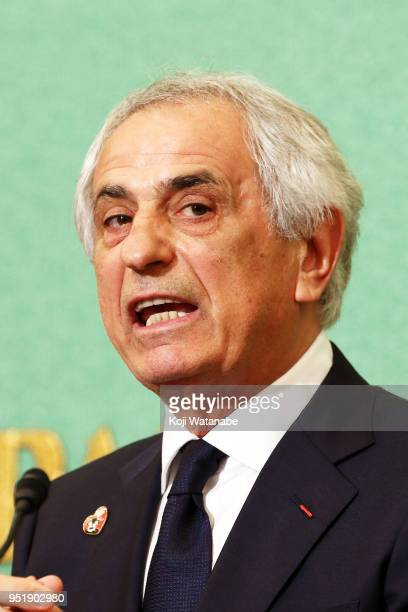 Former Japan national team head coach Vahid Halilhodzic attends a press conference at the Japan National Press Club on April 27 2018 in Tokyo Japan...